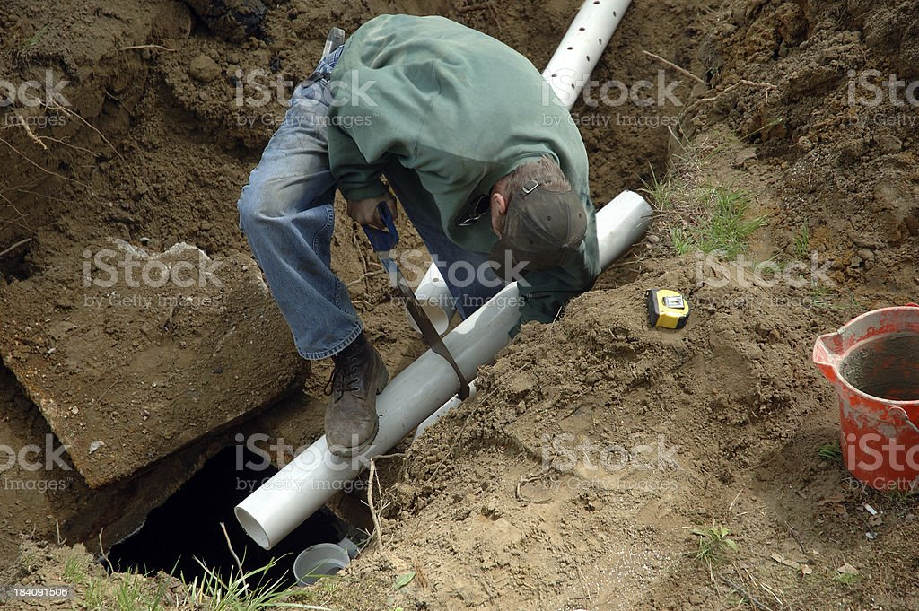 Home Improvement Septic Construction Worker royalty-free stock photo