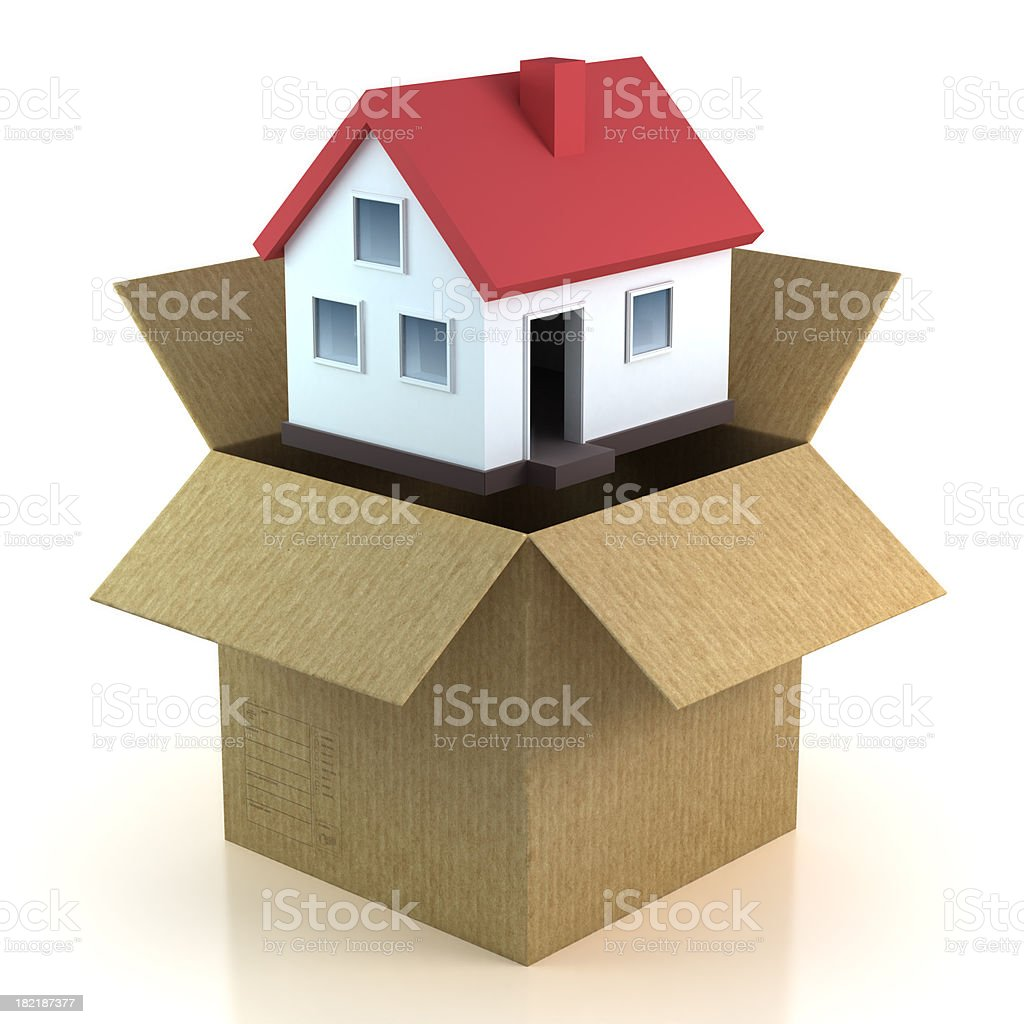 Home in moving box - isolated with Clipping Path royalty-free stock photo