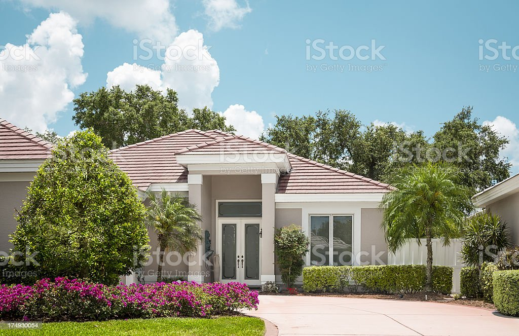 Home in the Suburbs with Flowers royalty-free stock photo
