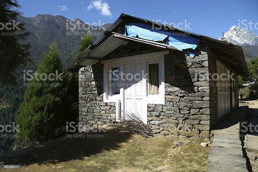 home in village from nepal stock photo