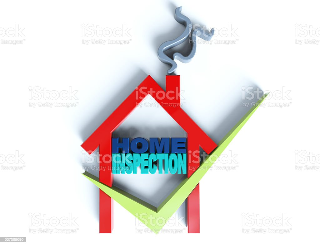 Home inspection 3d isolated on white stock photo