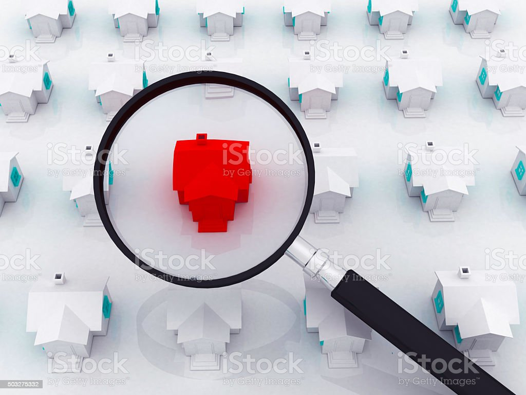 Home Inspection with a Magnifying Glass stock photo