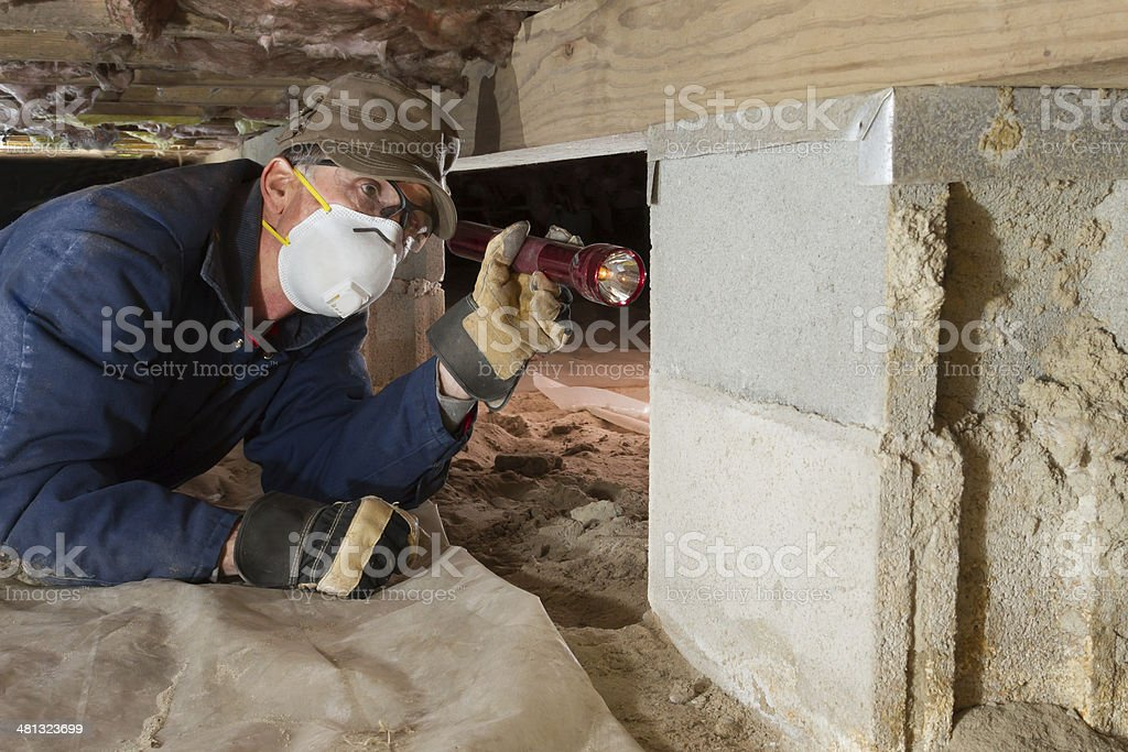 Home inspector looks for termites in residential home's crawl space stock photo