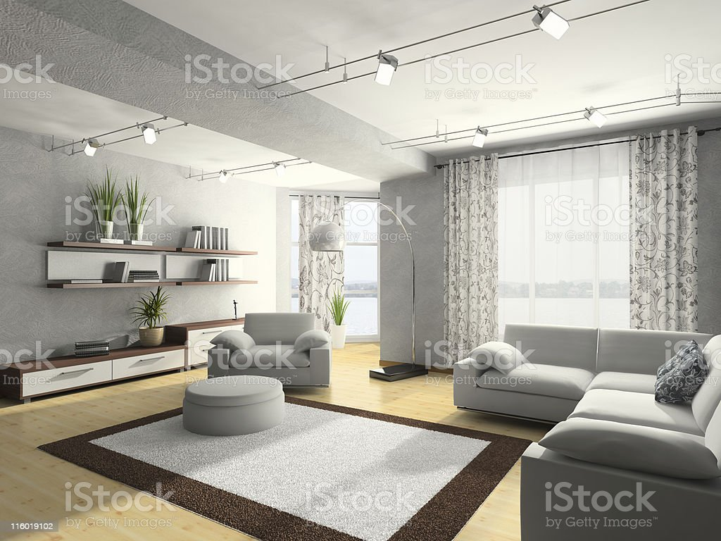 Home interior 3D rendering royalty-free stock photo