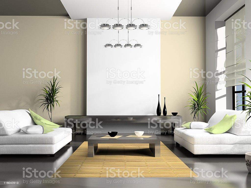 Home interior 3D rendering stock photo