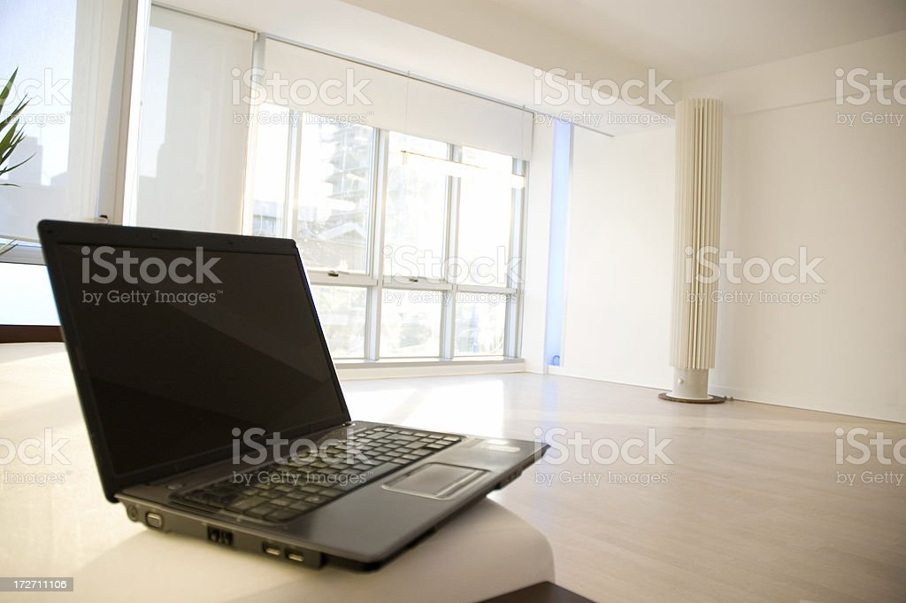 home interior and laptop royalty-free stock photo