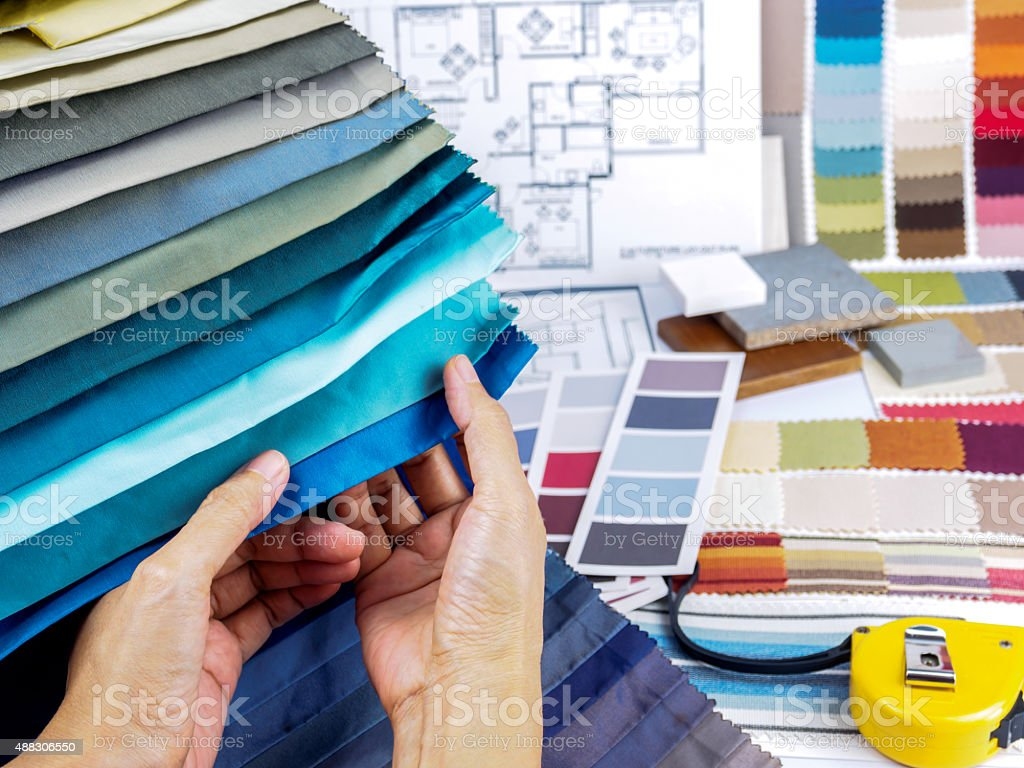 Home interior decoration and renovation planning concept stock photo
