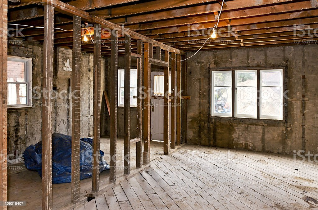Home interior gutted for renovation royalty-free stock photo