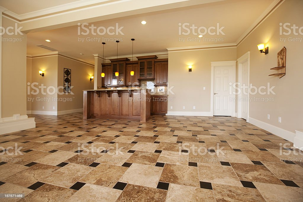 Home interior lower level club room with custom bar royalty-free stock photo