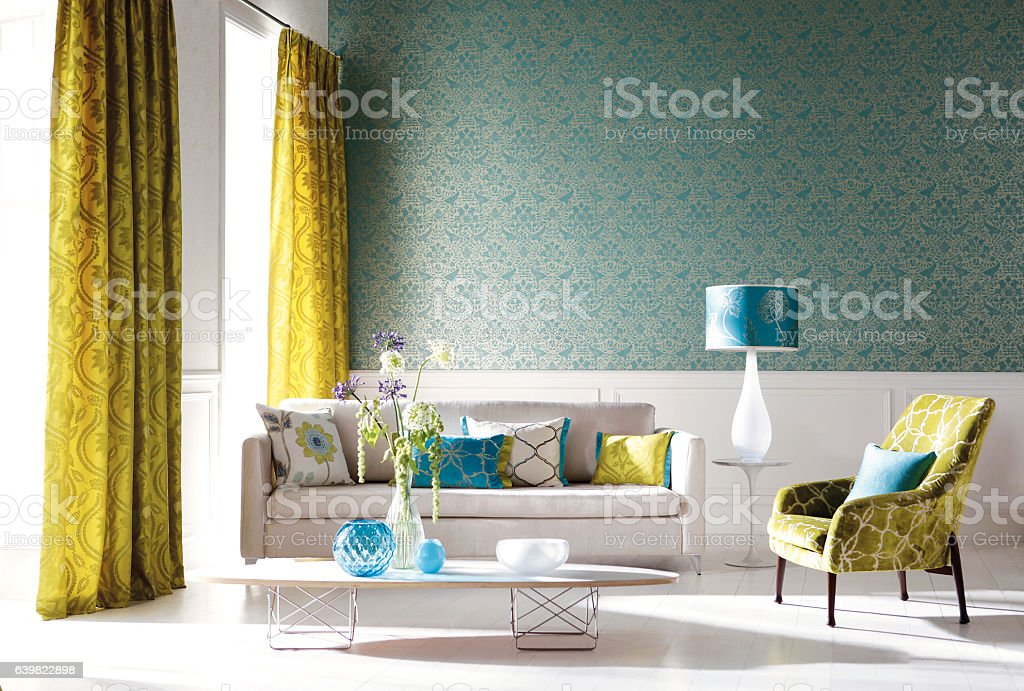 Home Interior of a contemporary living room with furniture stock photo