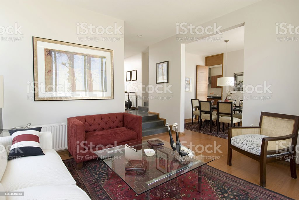 Home interior of a living room with a mix of elements stock photo