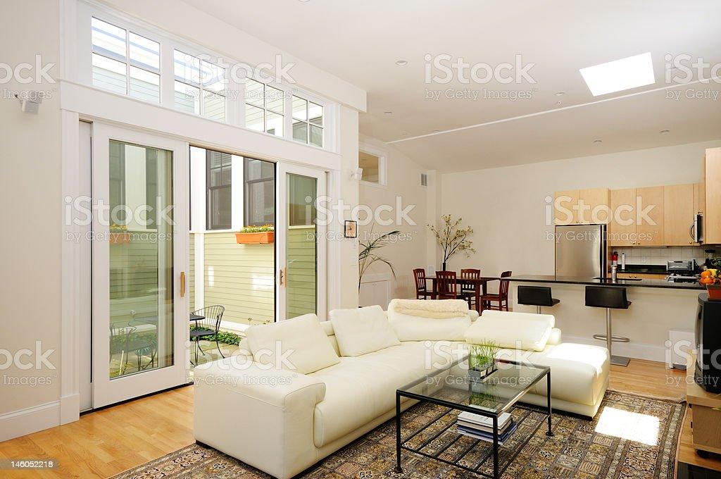 Home interior of open plan apartment stock photo
