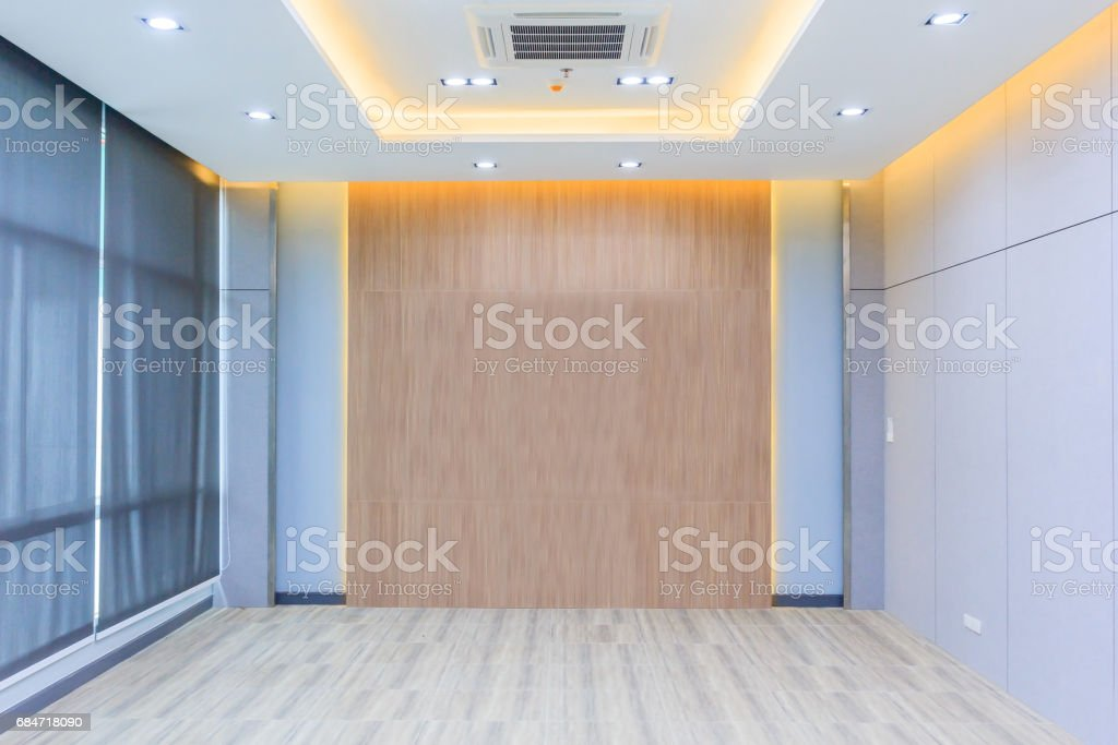 home interior rendering with empty room color wall and decorated with wooden floors royalty