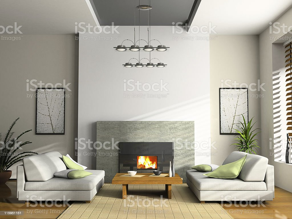 Home interior with fireplace and sofas 3D rendering vector art illustration