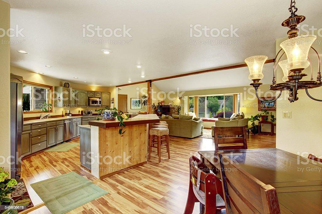 Home interior with hardwood floors and open floor plan stock photo