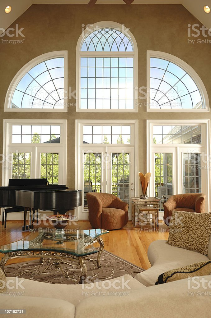 Home Interior with large windows stock photo