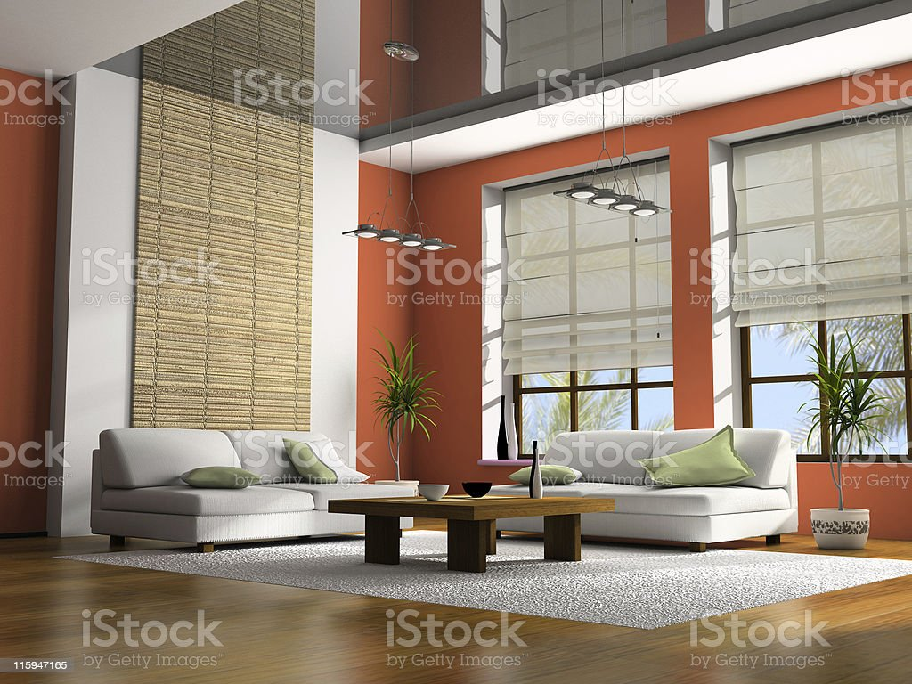 Home interior with table and sofas 3D rendering stock photo