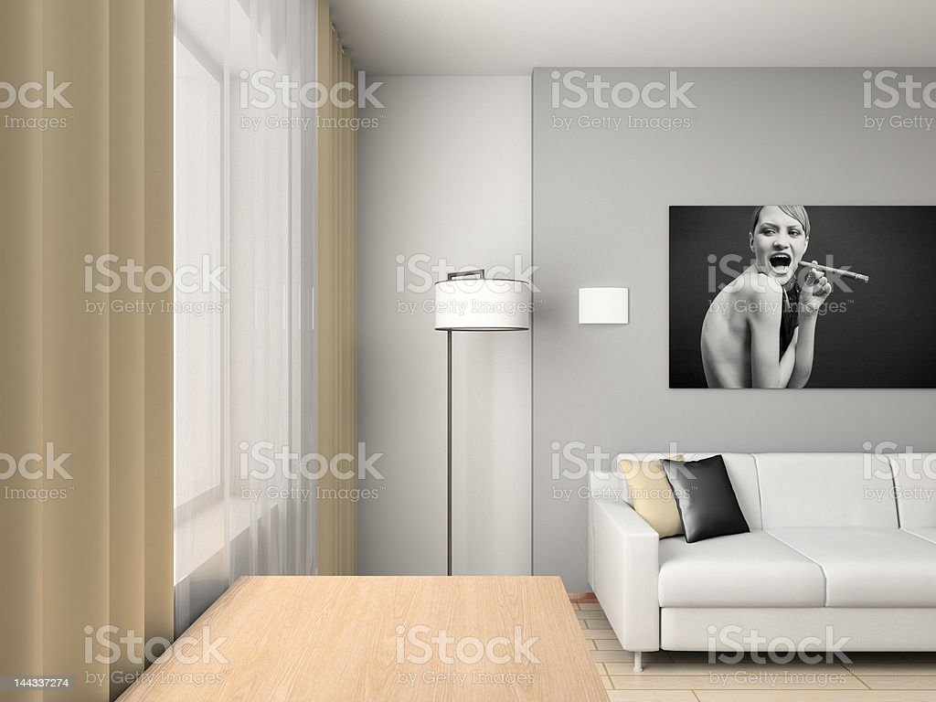home interior with the portrait. royalty-free stock photo