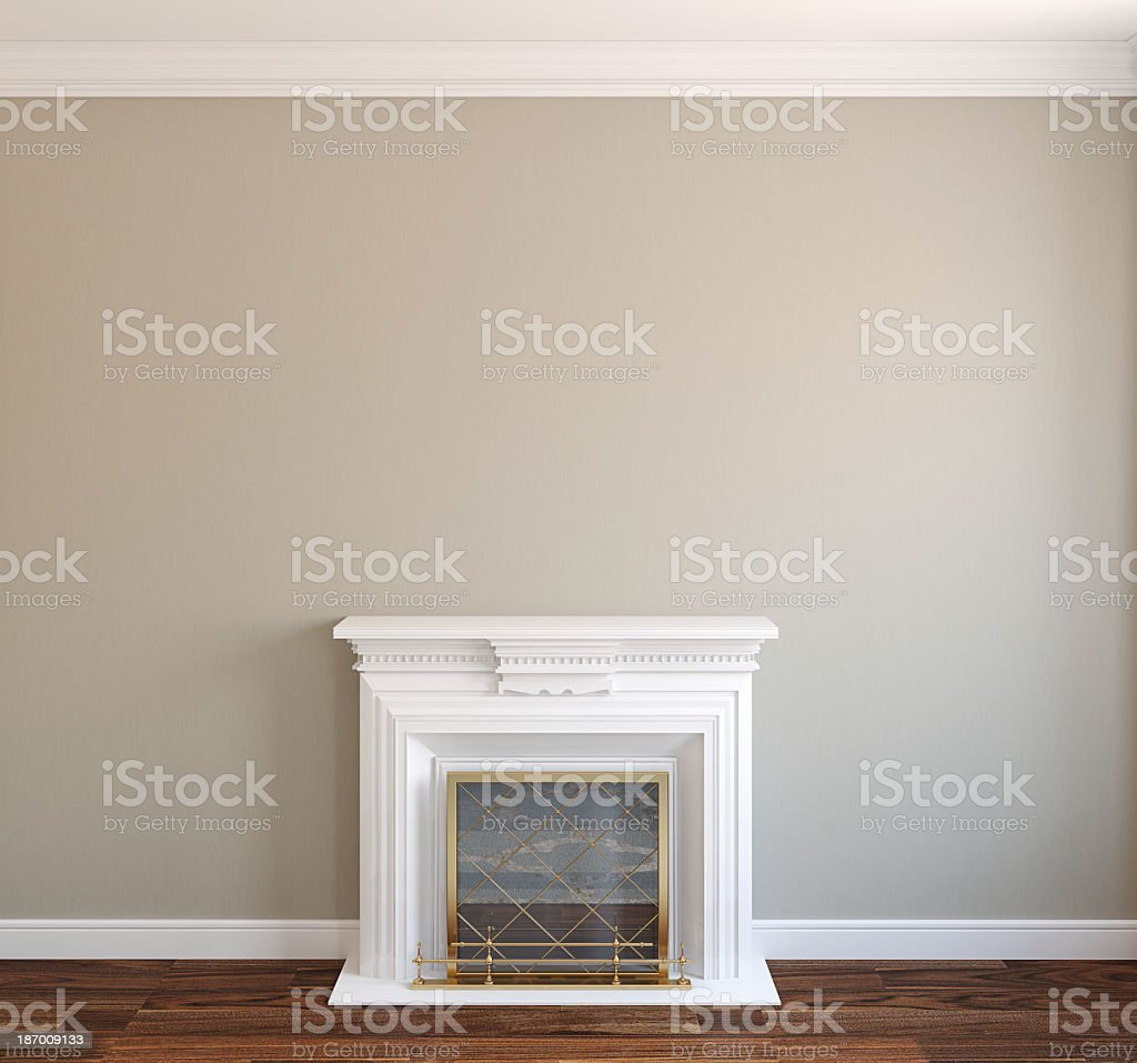 Home interior with white mantled fireplace stock photo