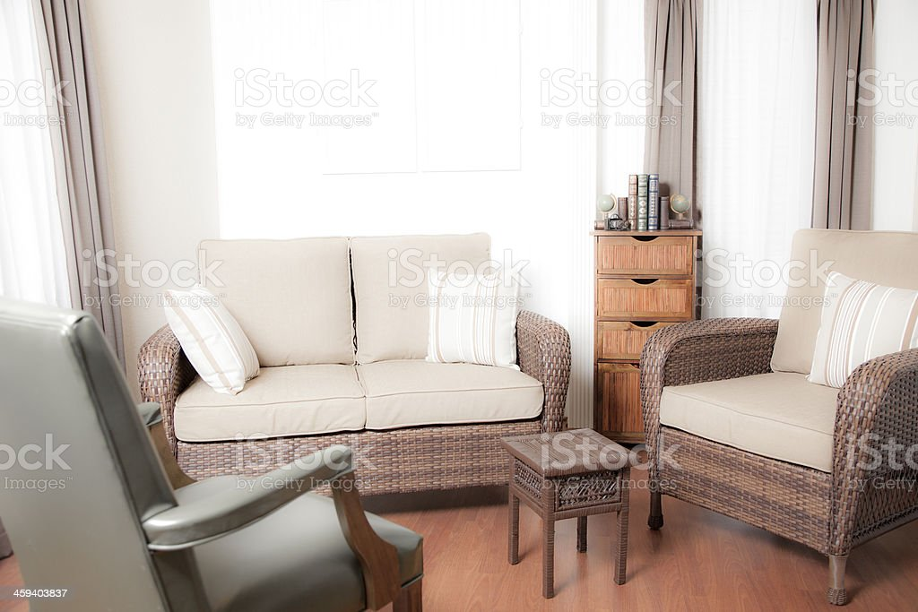 Home Interiors: Living room furniture. Window. stock photo