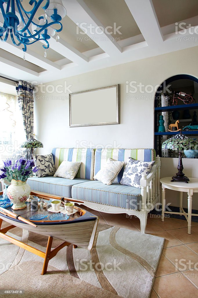 Home interiors,Mediterranean-style living room stock photo