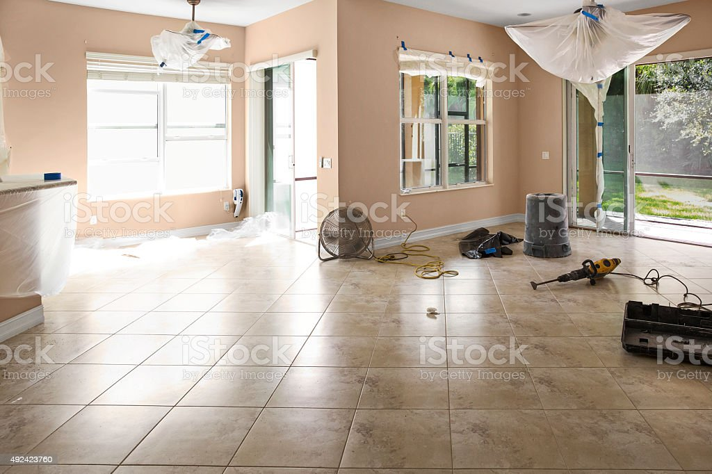Home is being renovated by new owners before moving in stock photo