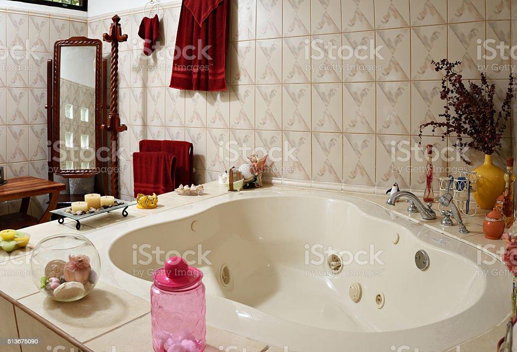 home jacuzzi bath stock photo