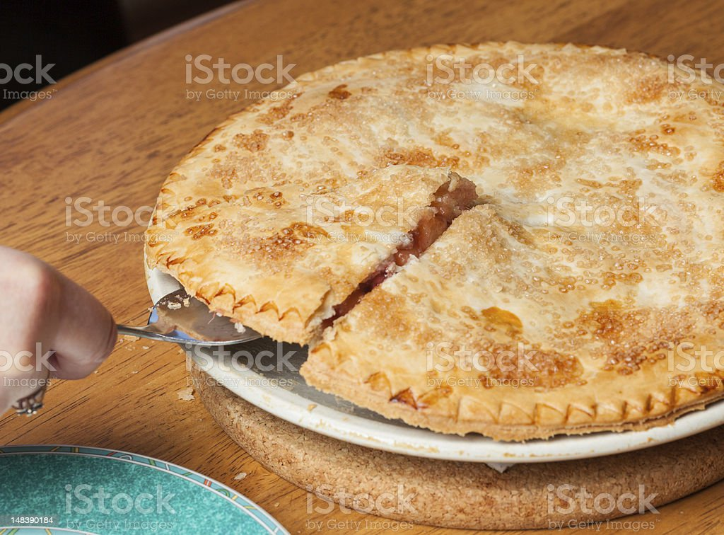 Home made apple and strawberry pie served royalty-free stock photo