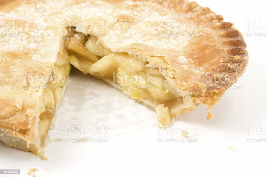 A home made apple pie with a slice missing royalty-free stock photo