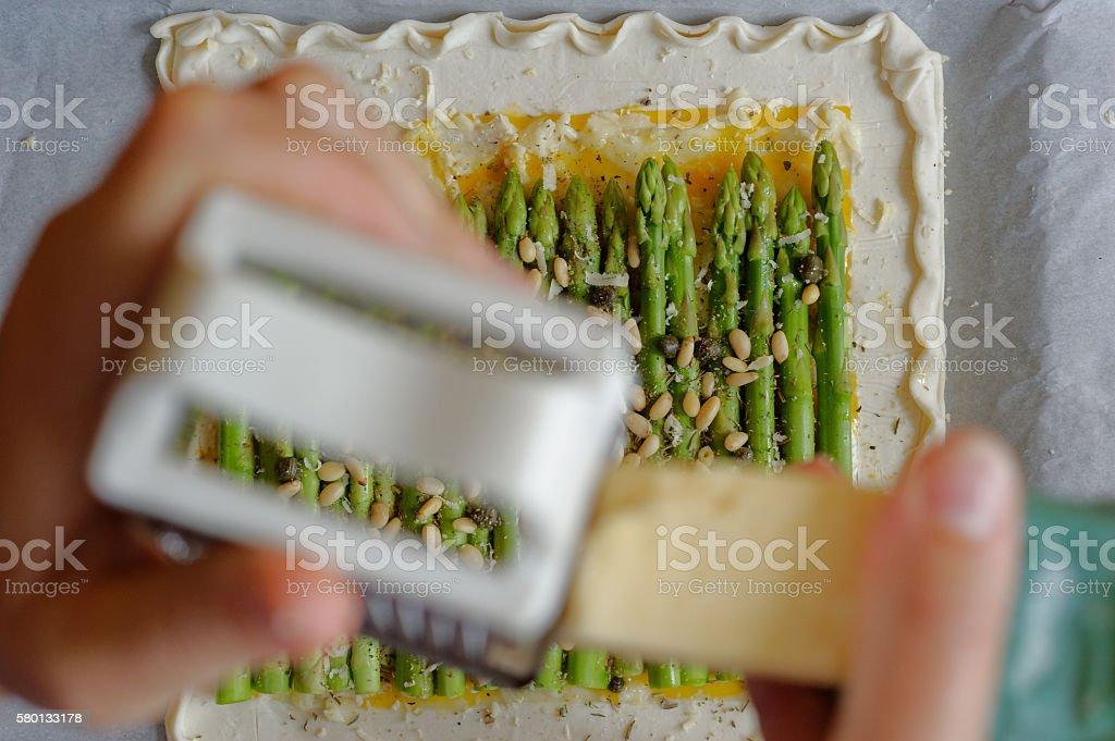 Home Made Asparagus Tart stock photo