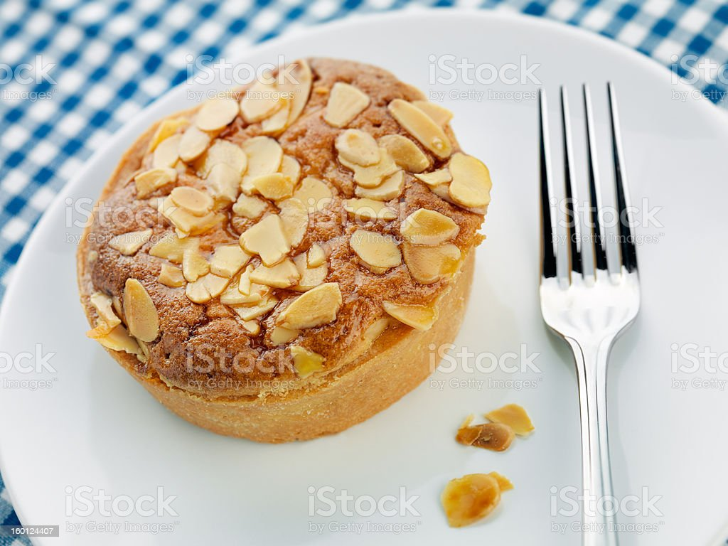 Home made Bakewell tart with Almonds stock photo