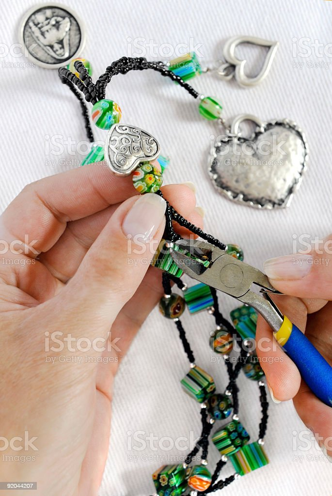 home made bead jewellery making as a hobby stock photo