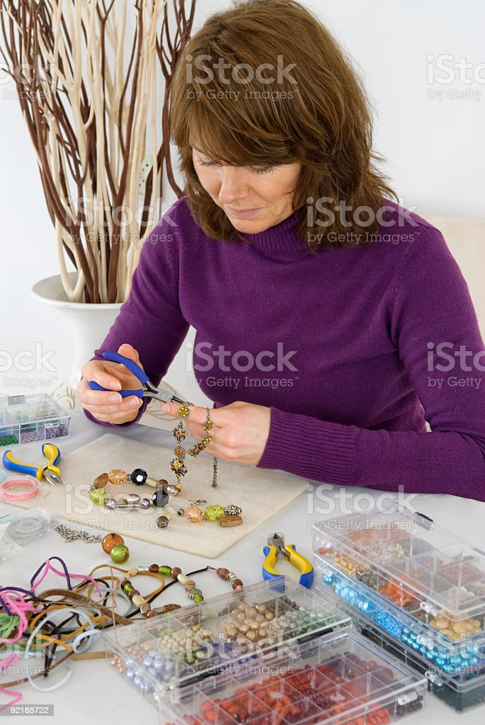 home made bead jewelry making as a hobby royalty-free stock photo
