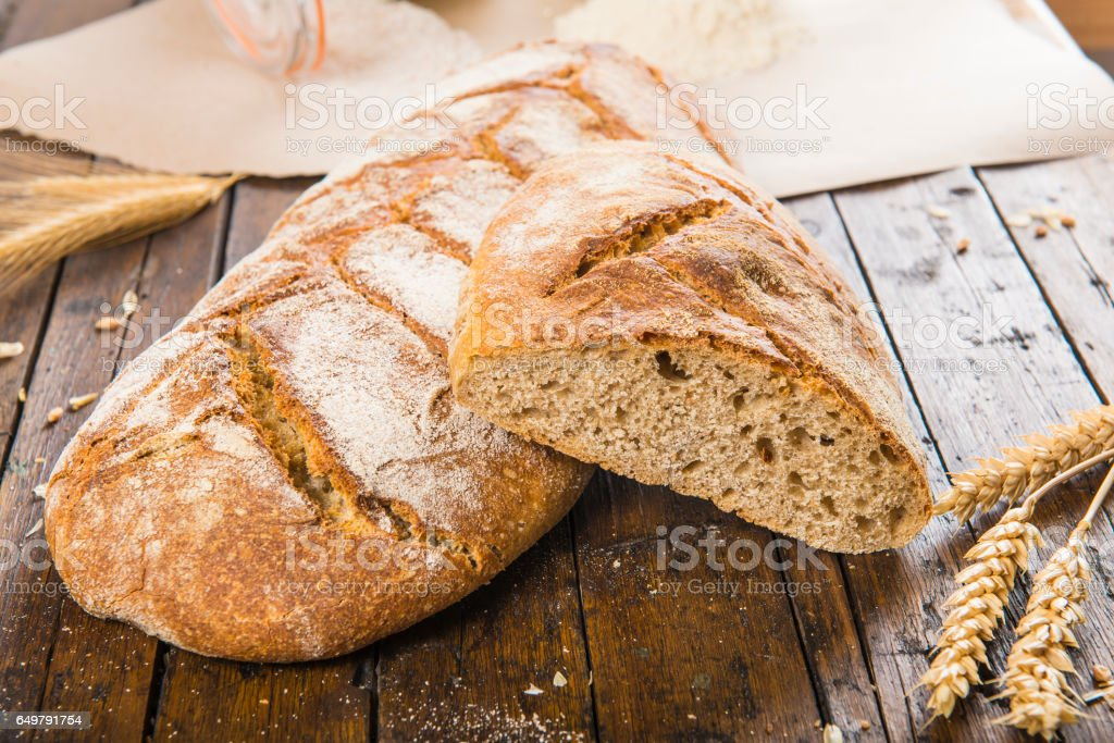 Home made bread from organic flour stock photo
