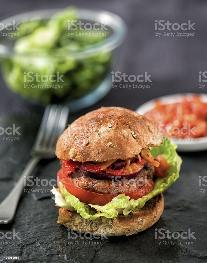 Home made Burger stock photo