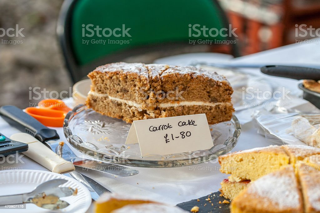 Home made cake for sale at food market stock photo