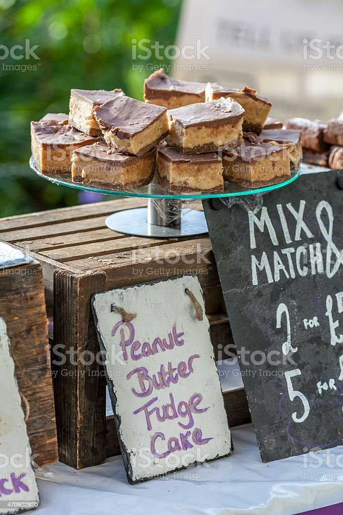 Home made cakes for sale stock photo