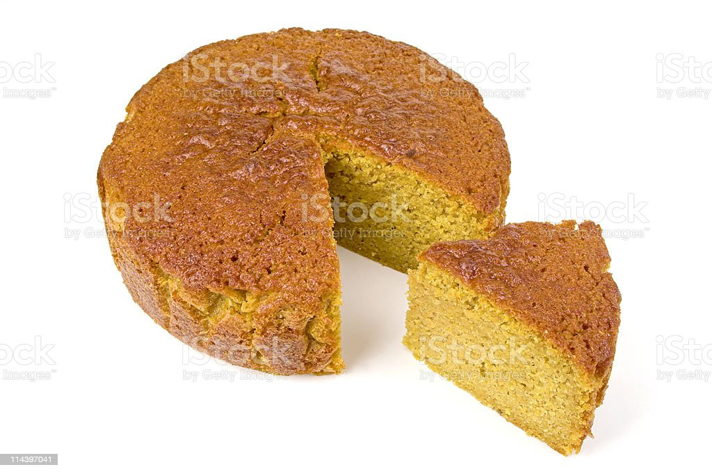 Home Made Carrot Cake With Slice Cut stock photo