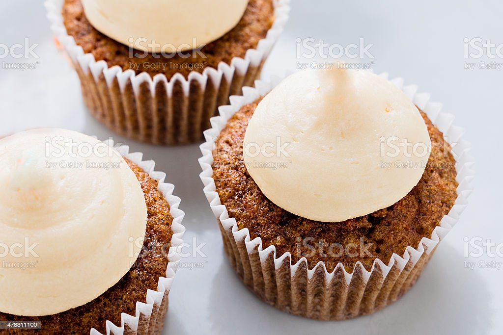 Home made carrot cupcakes stock photo