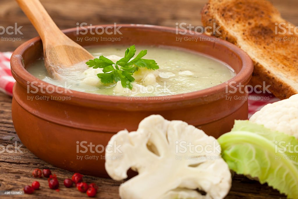Home made cauliflower soup stock photo