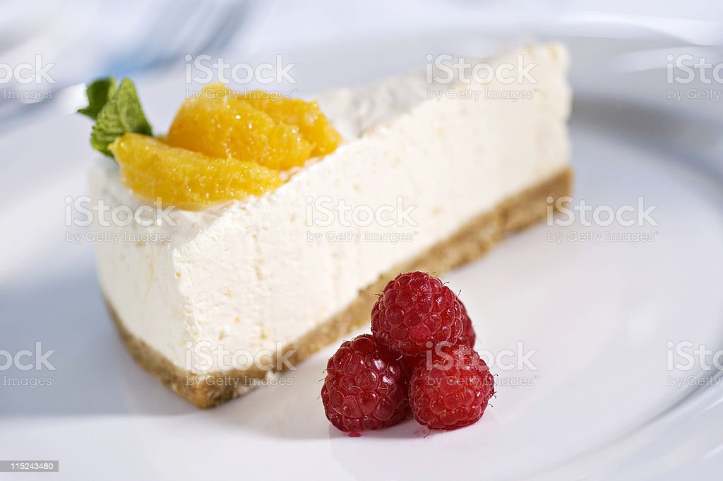 Home Made Cheesecake with raspberries and mint royalty-free stock photo