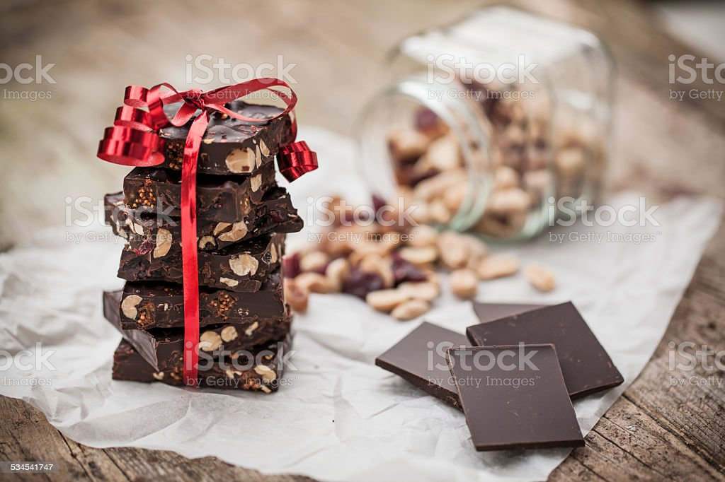 Home made chocolate as gift stock photo