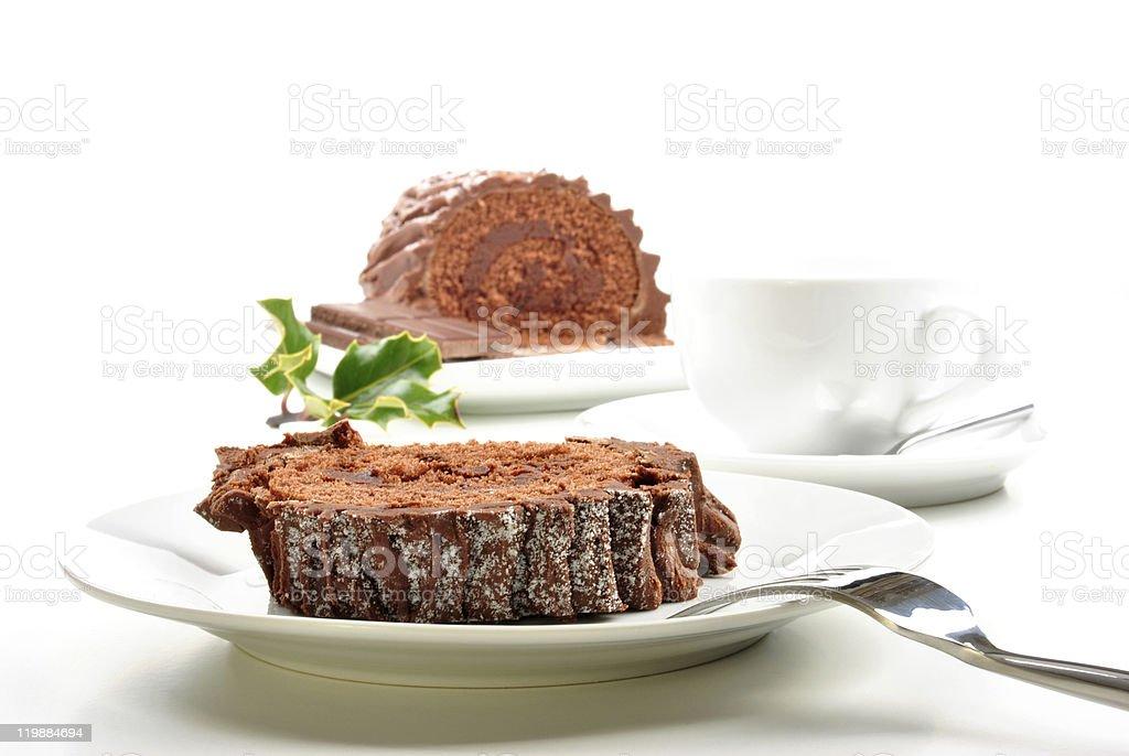 home made chocolate cake on a white plate stock photo