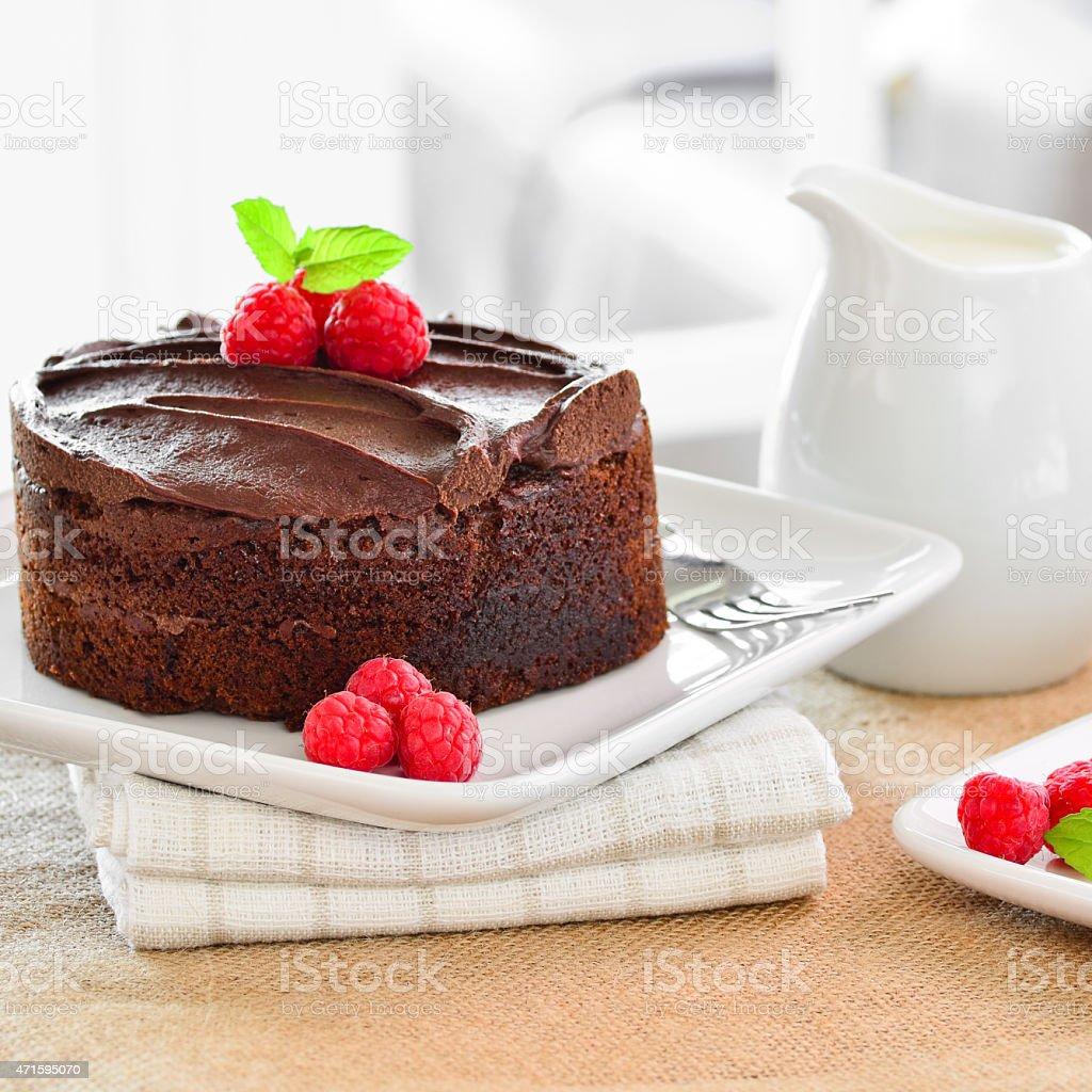 Home made chocolate cake. stock photo