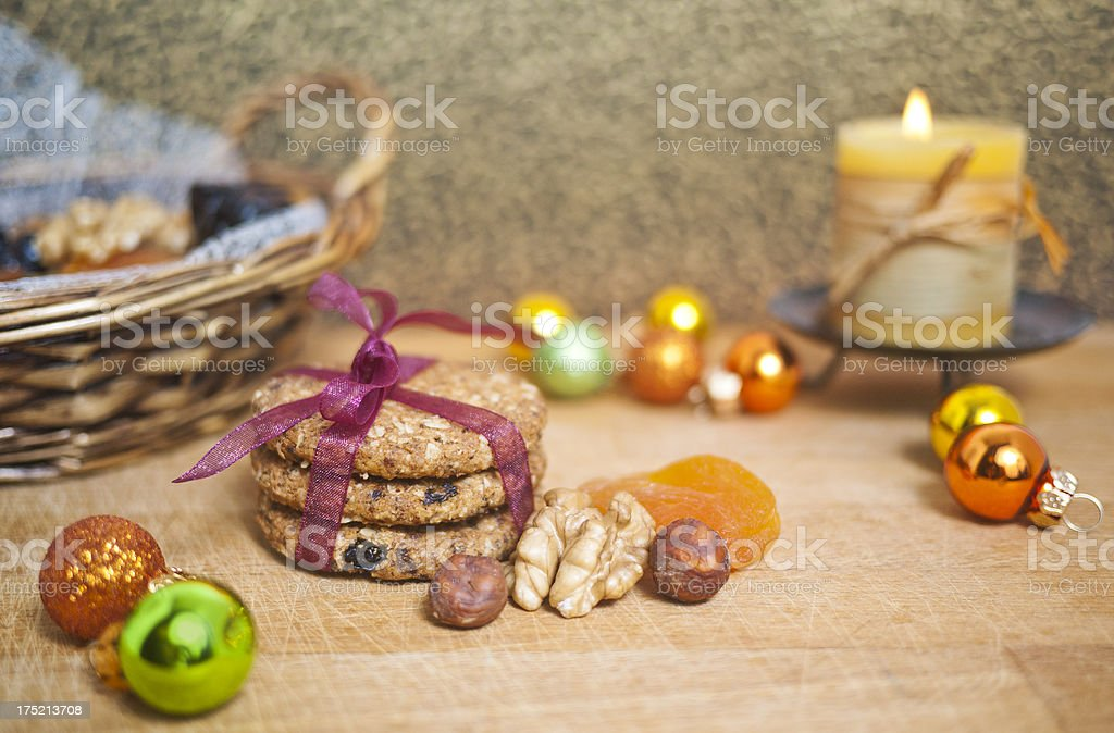 Home made cookies and christmas decoration stock photo