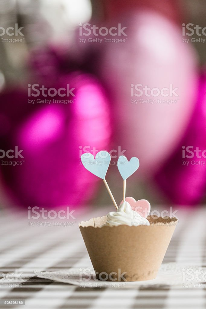 Home made cupcake with hearts stock photo