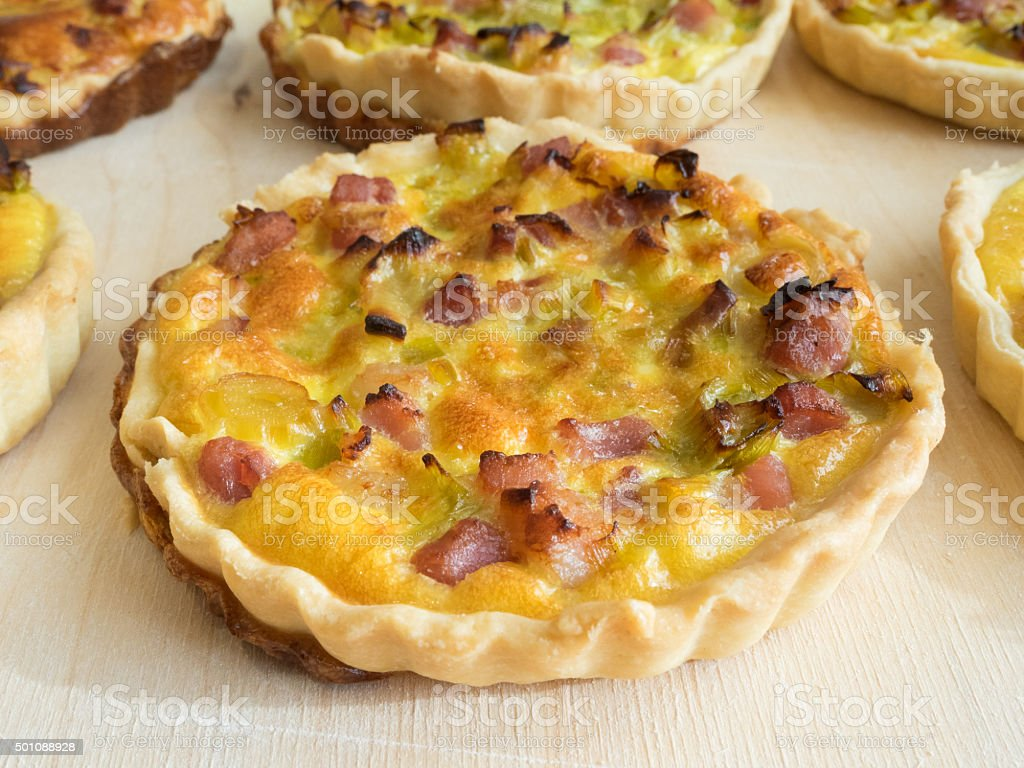 Home made French quiche lorraine. stock photo