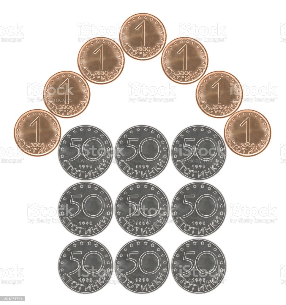 Home made from Bulgarian coins stock photo