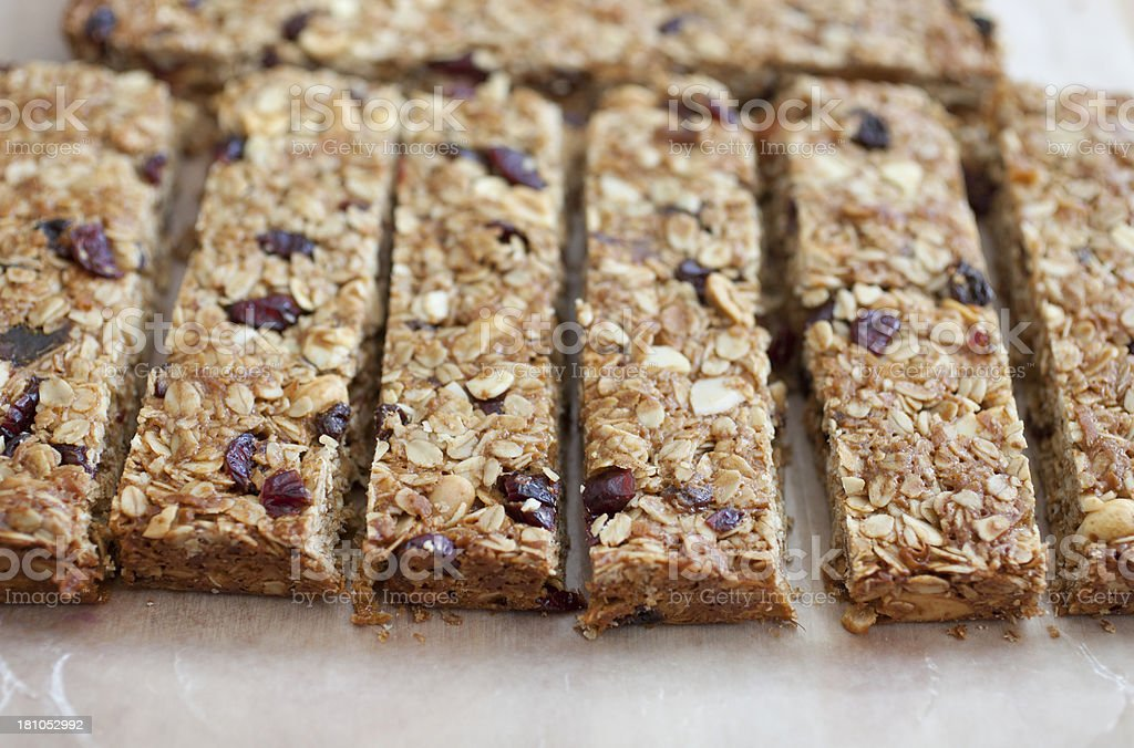 Home made fruit and nut bars stock photo