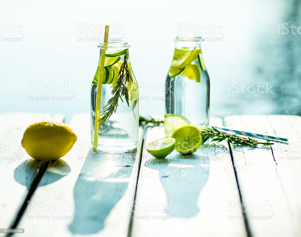 Home made healthy vitamin-fortified water stock photo